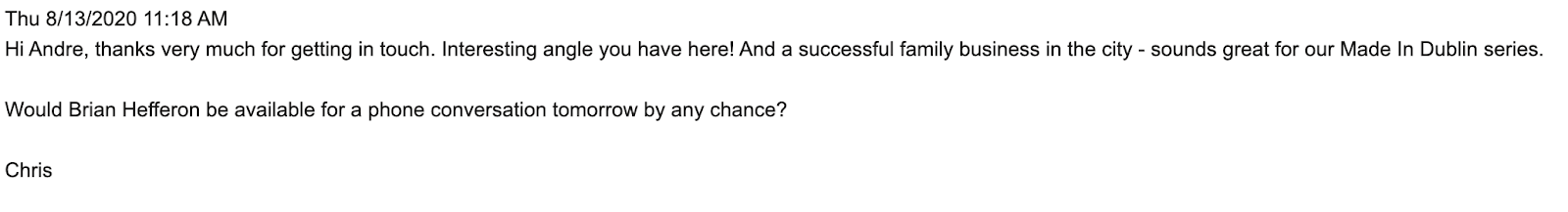 Email outreach reply 1