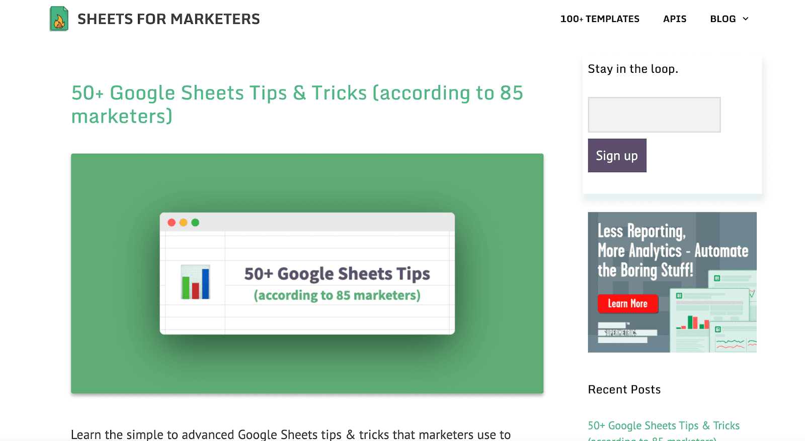 Sheets for Marketers blog page