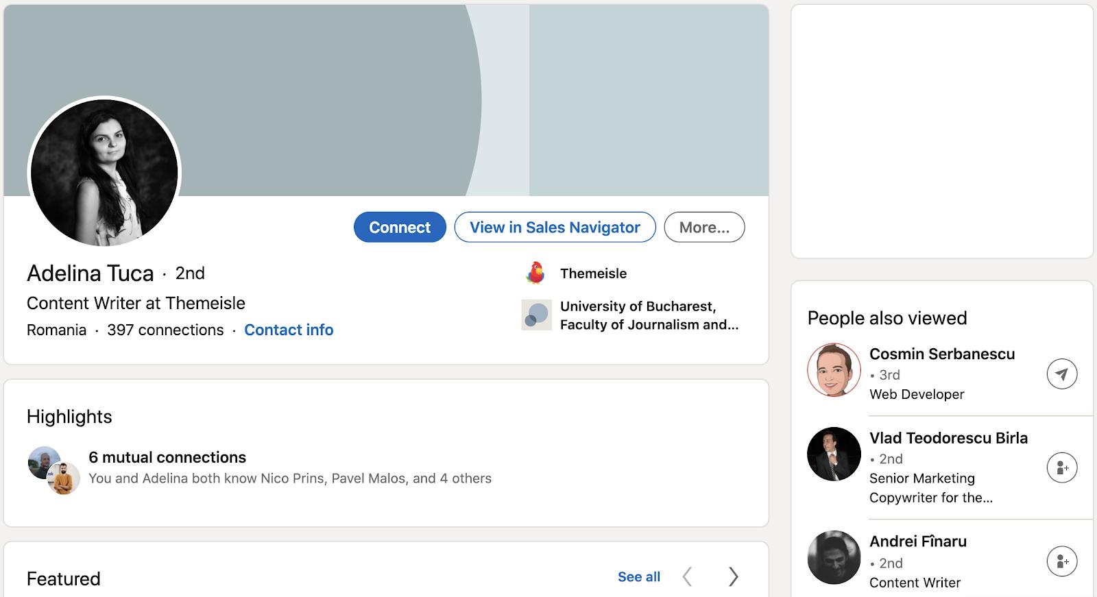 Adelina Tuca LinkedIn profile