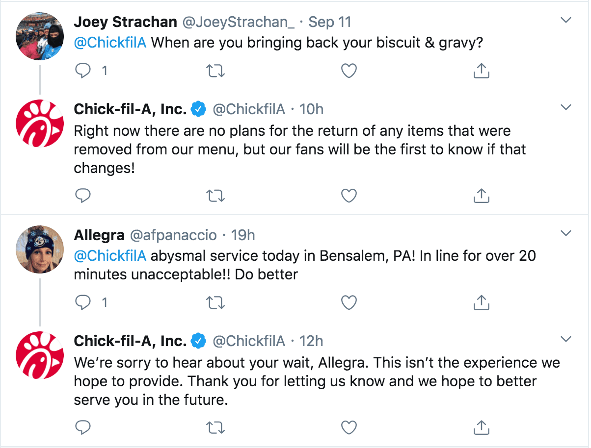 Chic-fil-a twitter engagements