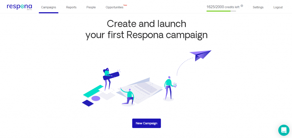 Respona campaign creation menu