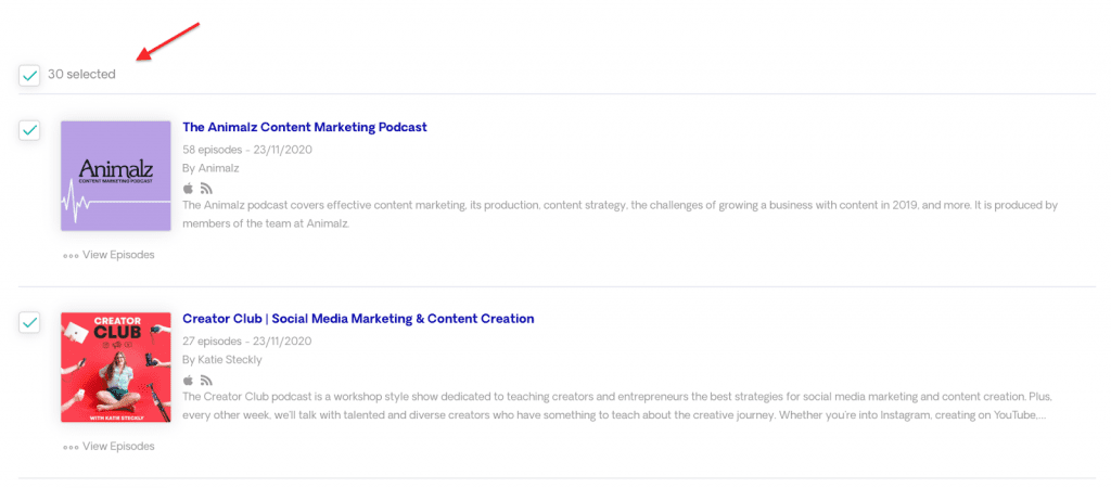select all podcast opportunities