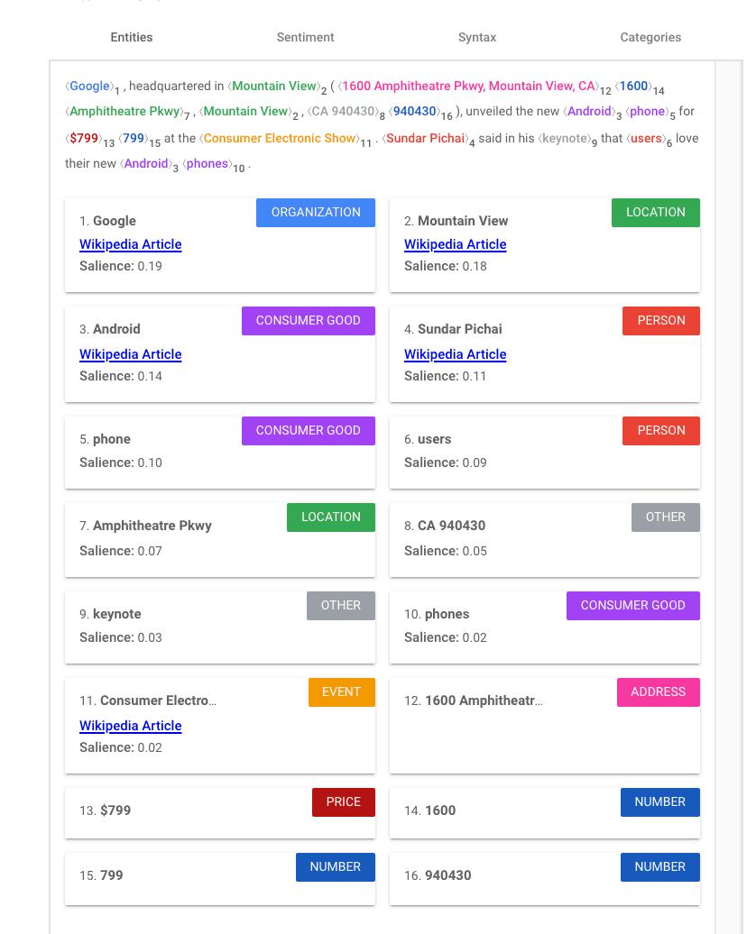 Google Natural Language results 1