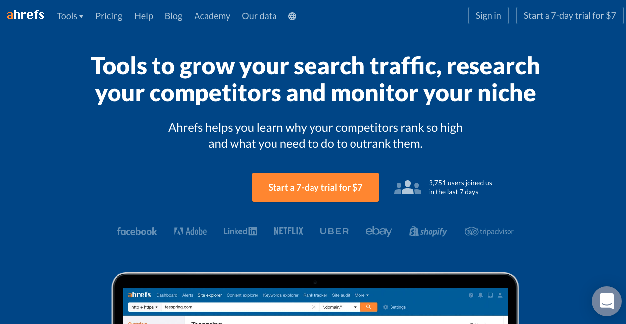 Ahrefs Home Page 1