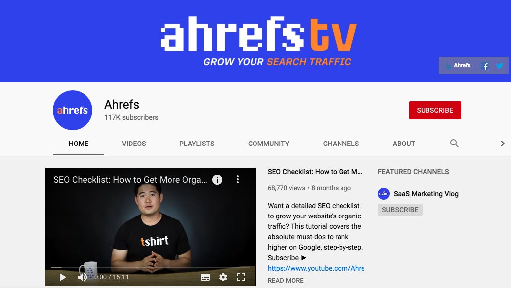 Ahrefs YouTube Channel 1