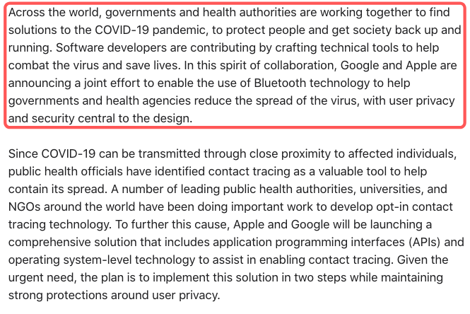 Apple Google Press Release on COVID 19 Pandemic