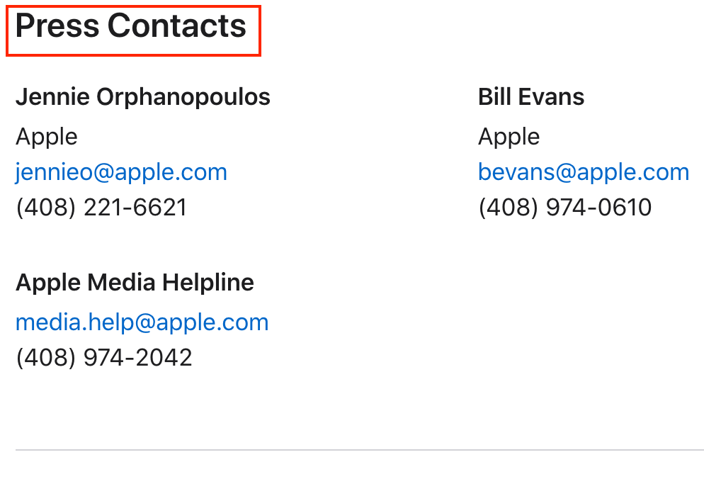 Apple Press Release Contact Details