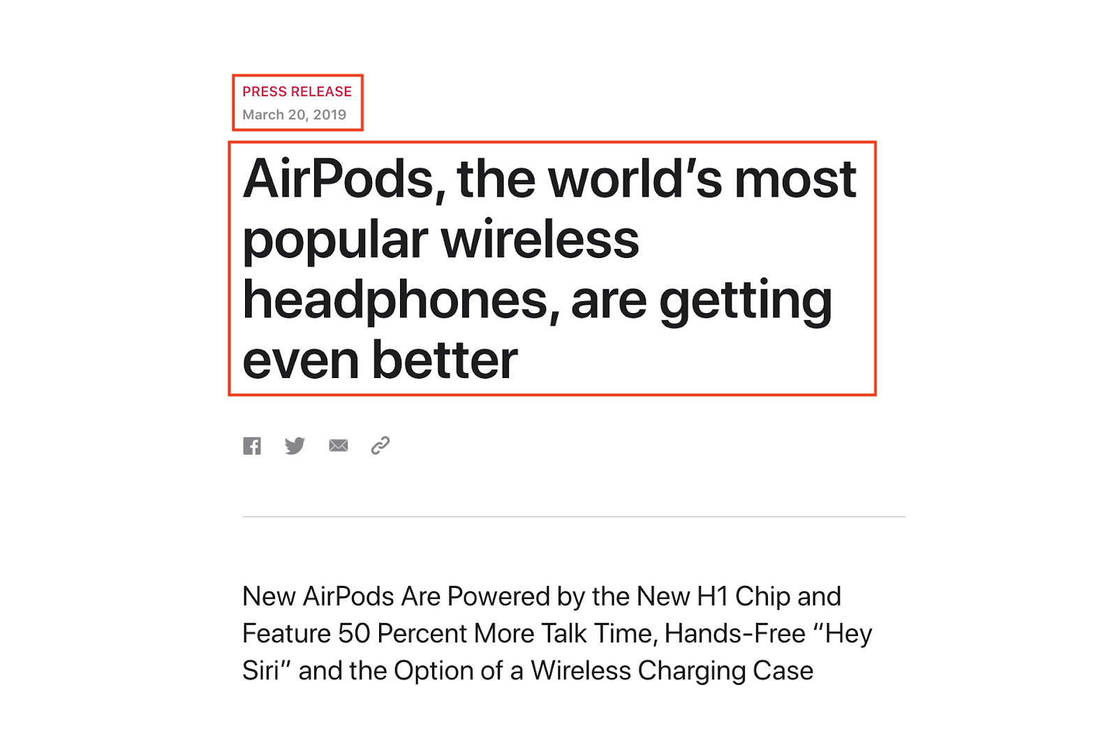 Apple Press Release on Airpods Published on March 2019