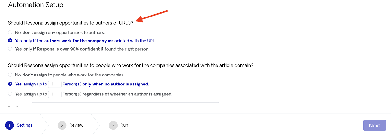 Assign Opportunities to Author URLs