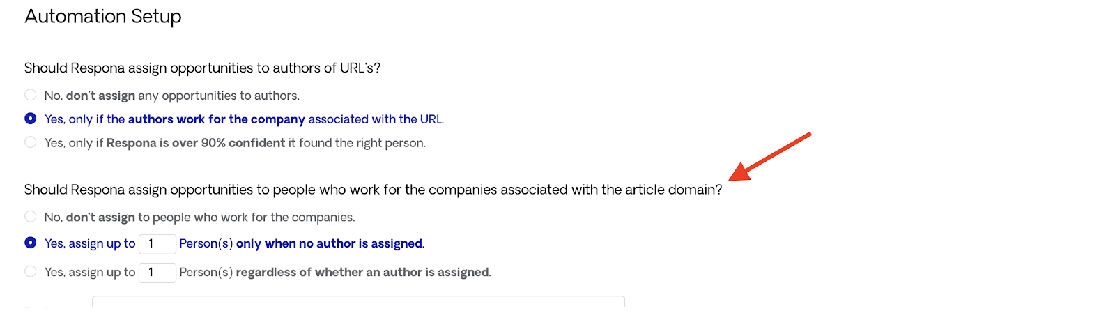 Assign Opportunities to People Who Work for the Companies Associated With the URL