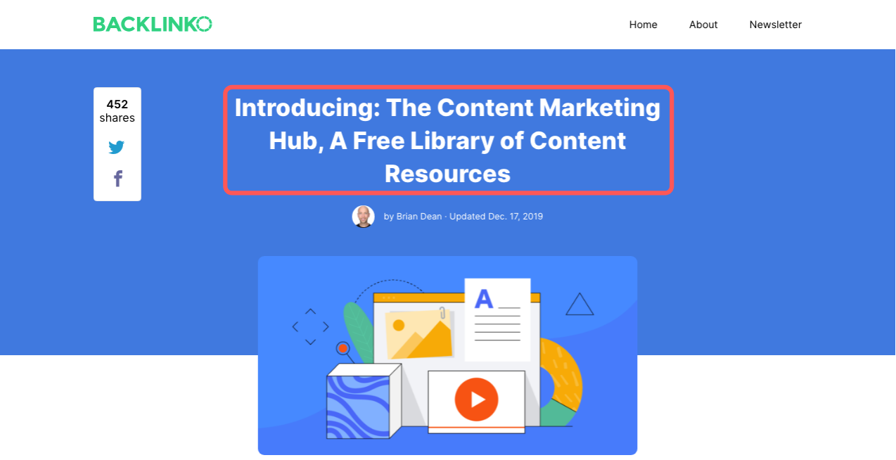 Backlinko Announcement for the Content Marketing Hub