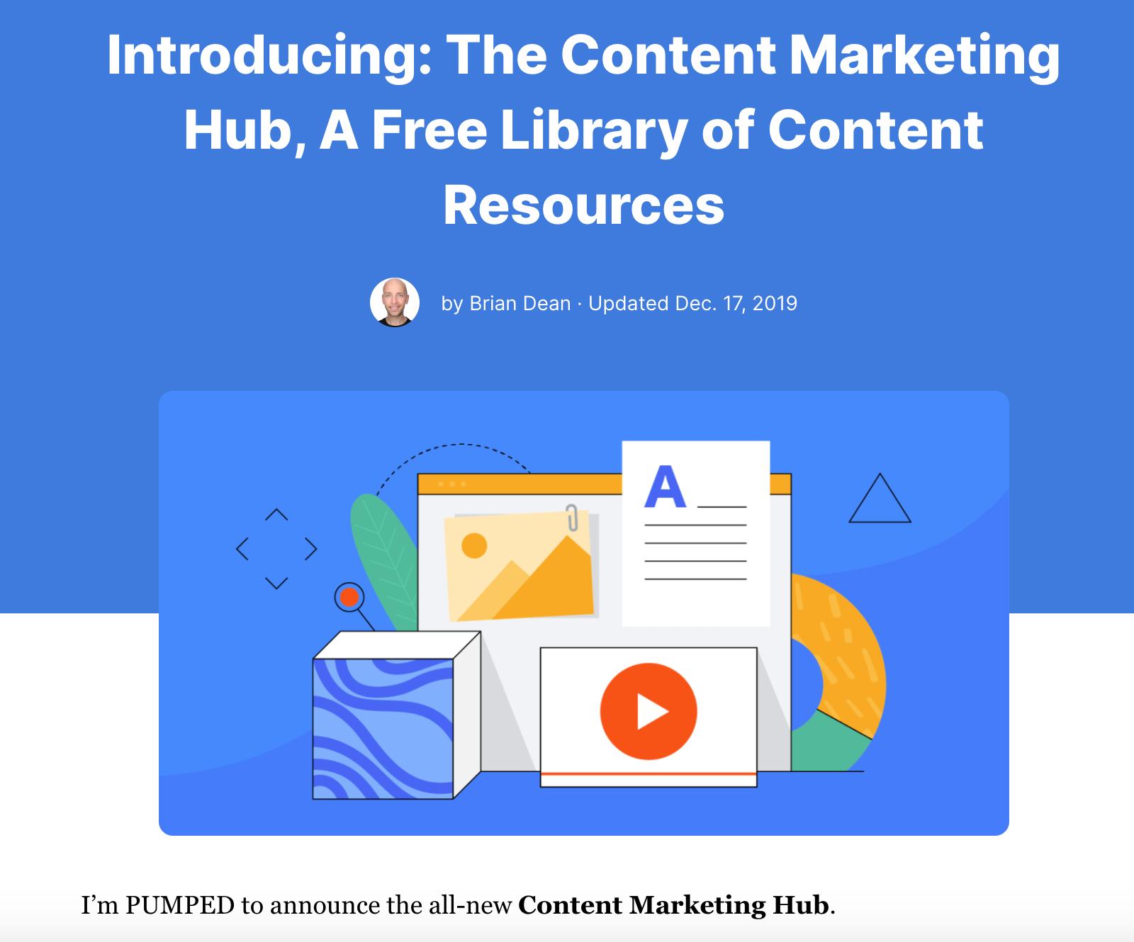 Backlinko Content Marketing Hub post
