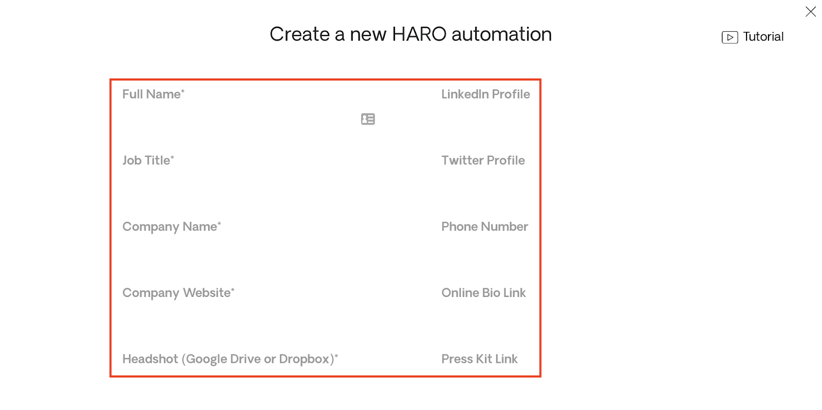 Bio Fields for HARO Automation