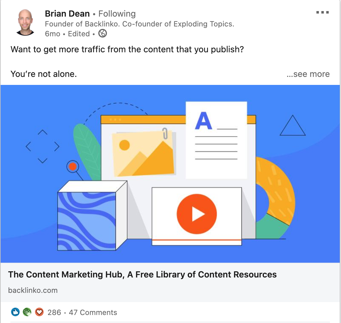 Brian Dean Linkedin post Content Marketing Hub