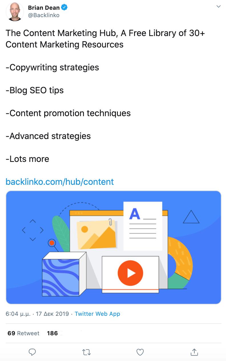Brian Dean Twitter post Content Marketing Hub