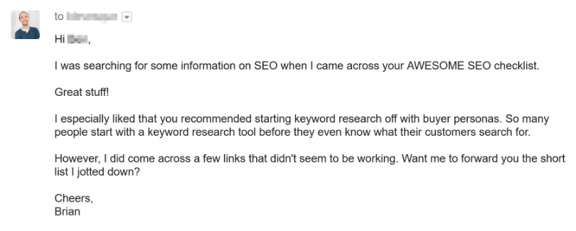 Broken Link Building Email by Brian Dean