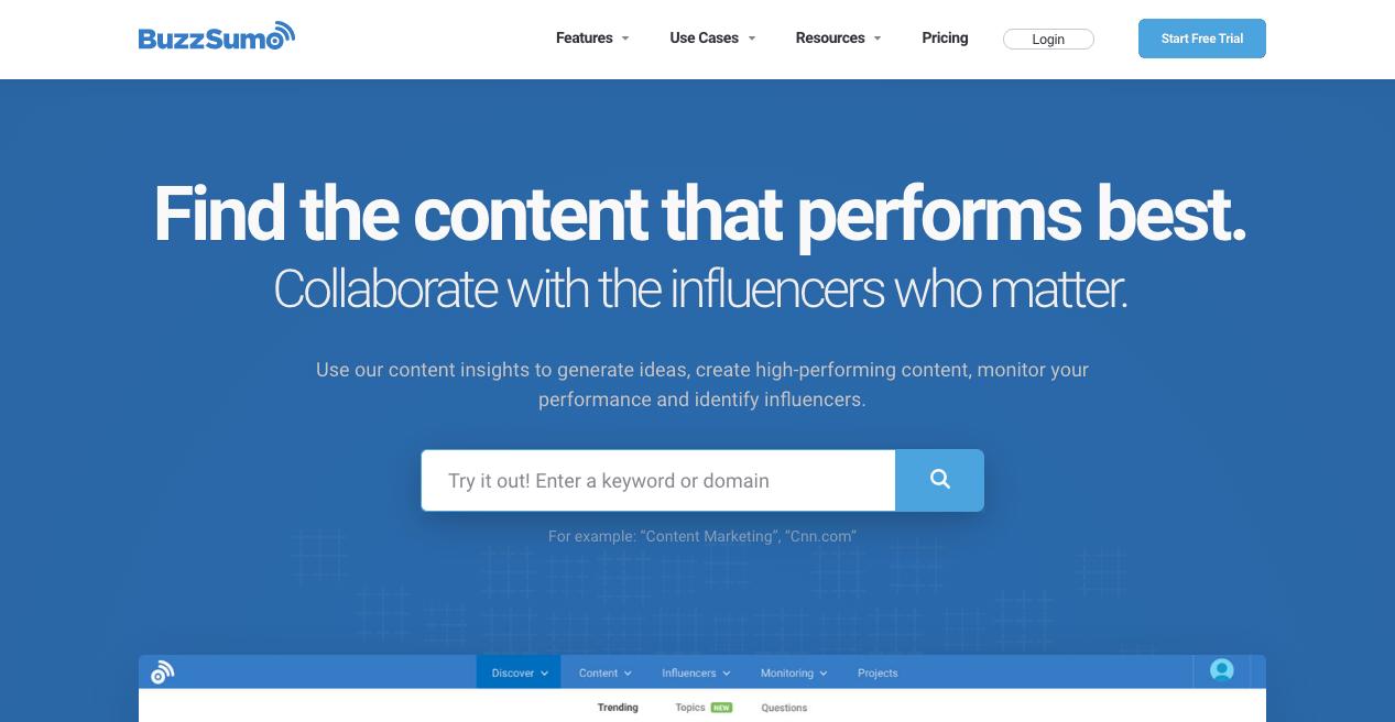 BuzzSumo Home Page
