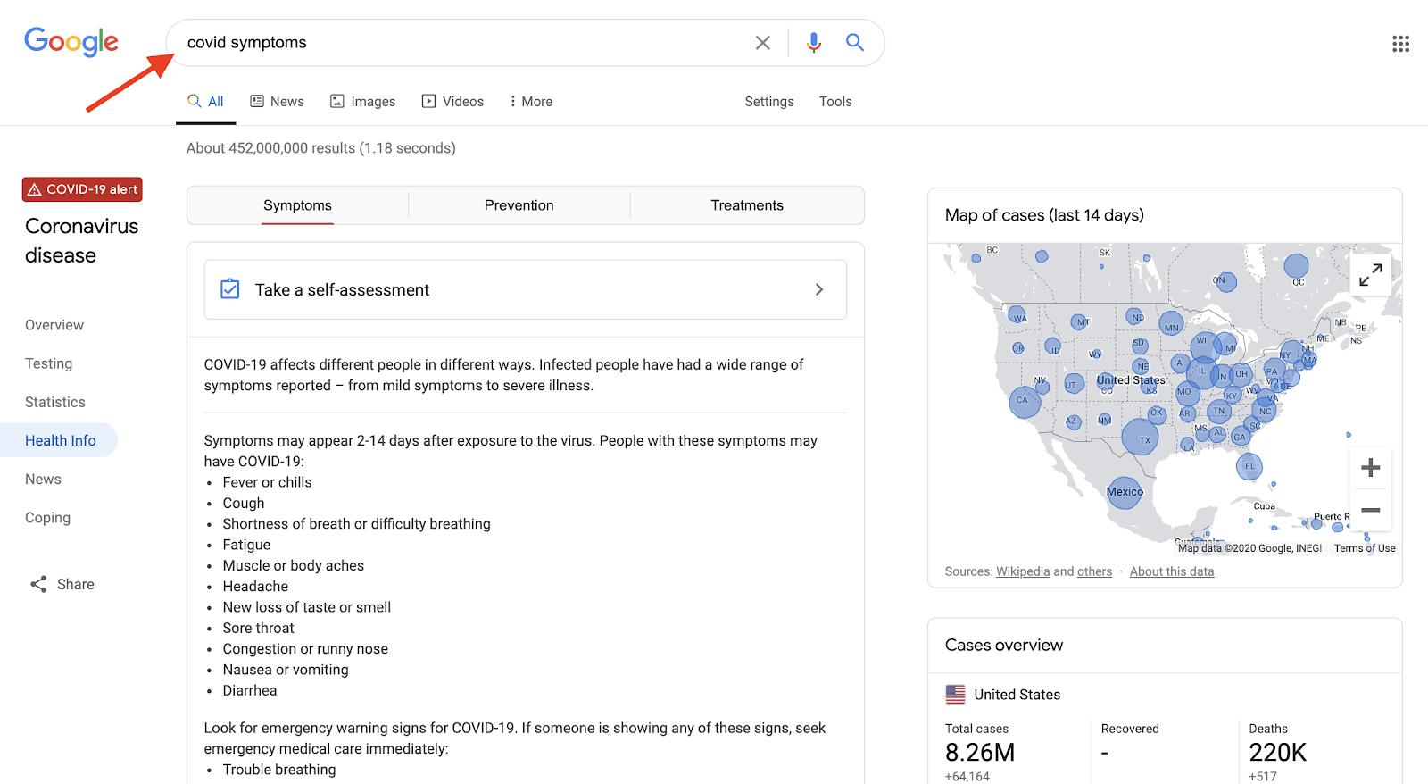 COVID Symptoms on Google