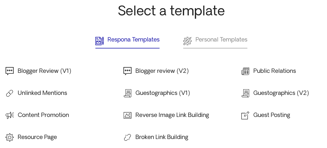 Choosing a Tempate From Responas Templates 1