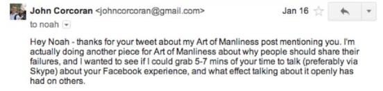 Cold Email by John Corconan to Noah Kagan