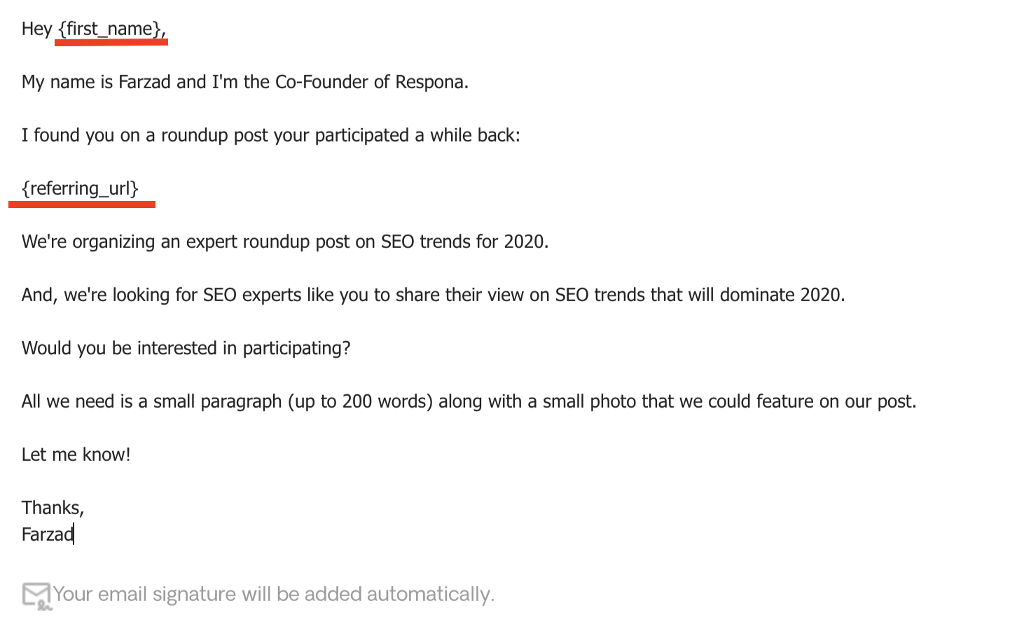 Custom Fields in Email