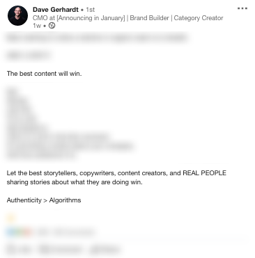 Dave Gerhardts LinkedIn Update Redacted