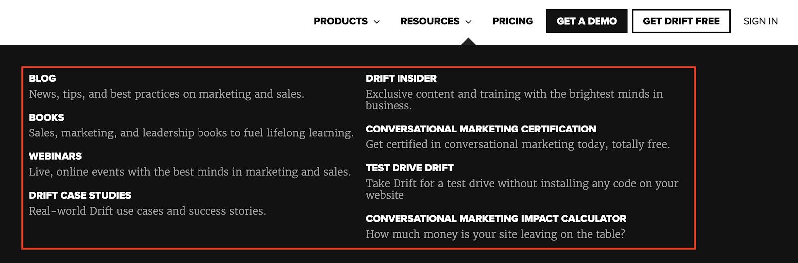 Drift Homepage 1
