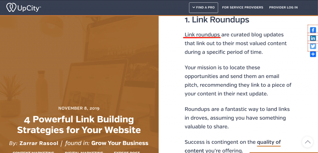 Link roundup post by UpCity