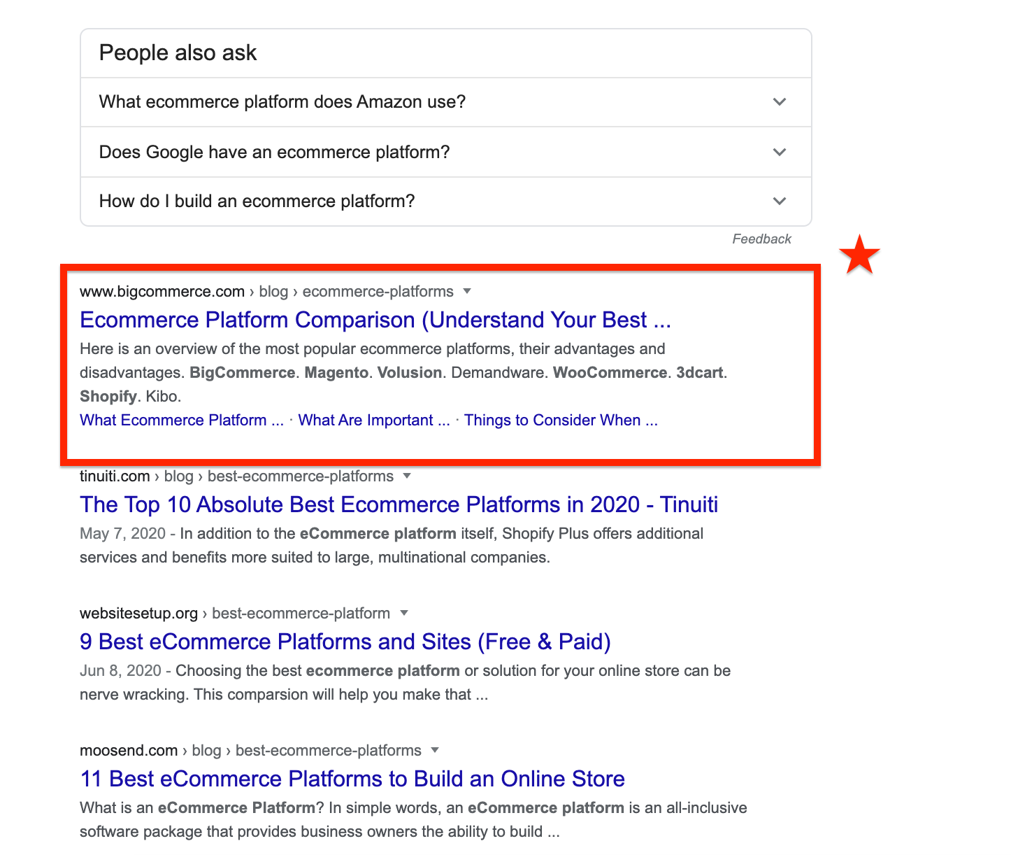 Ecommerce Platform Google Search Organic Results