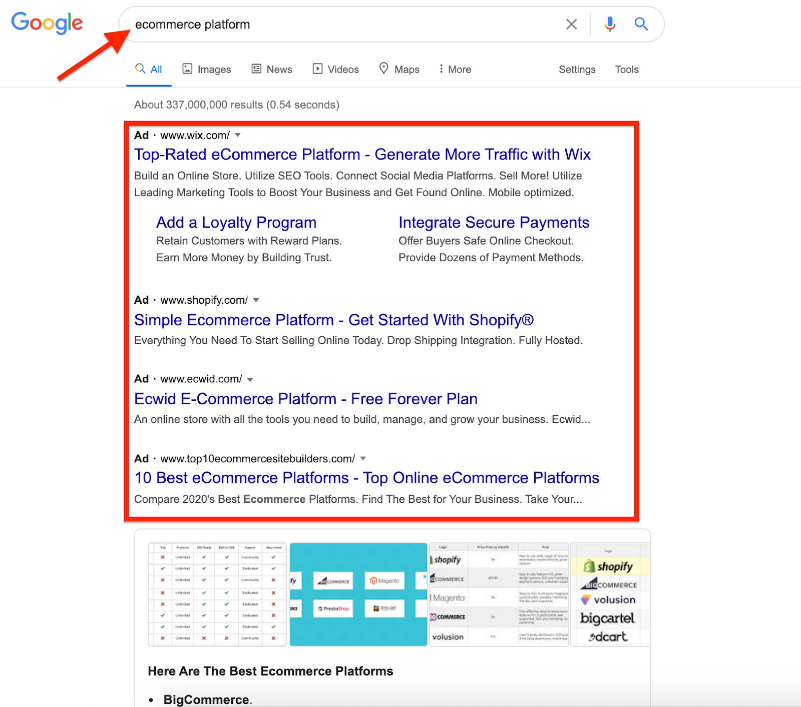Ecommerce Platform Google Search