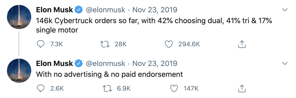Elon Musks Twitter Announcement on the Cybertrack