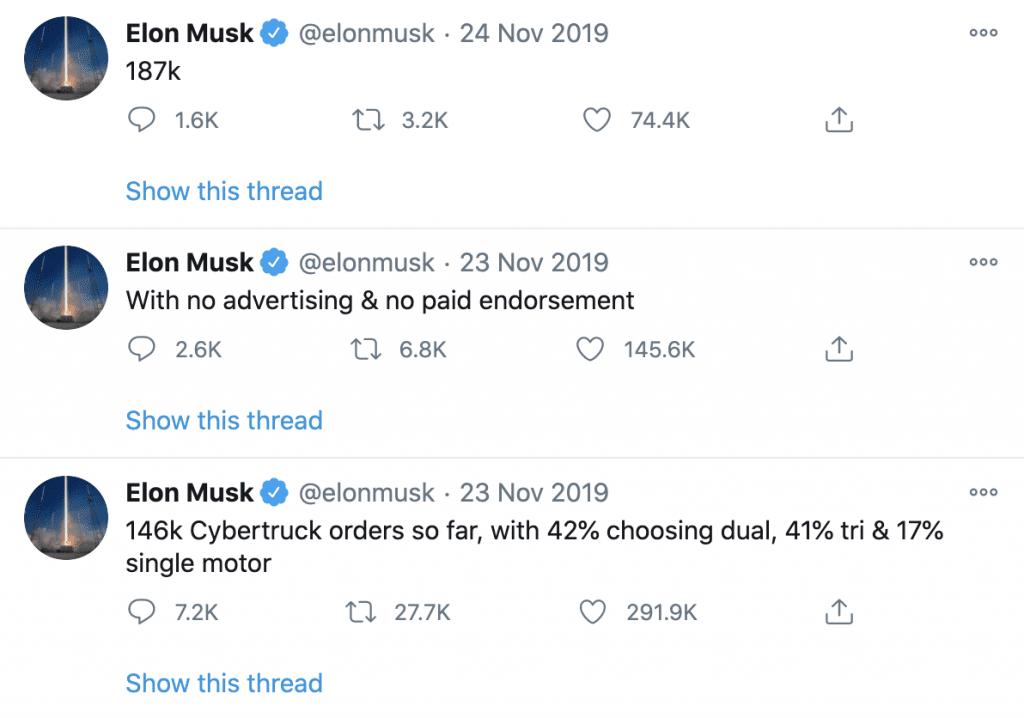 Elon Musk Twitter post