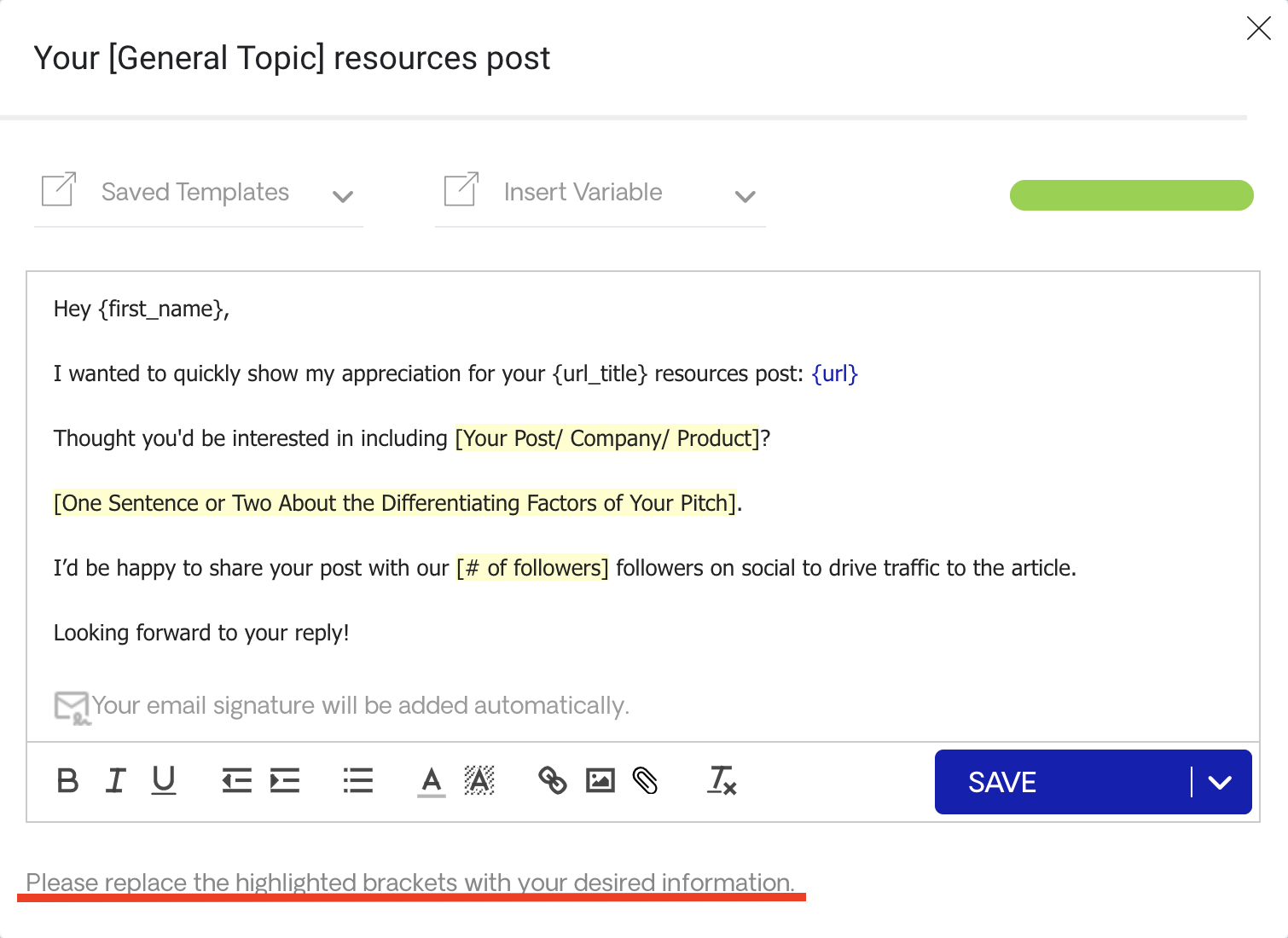 Email of Resource Pages Sequence