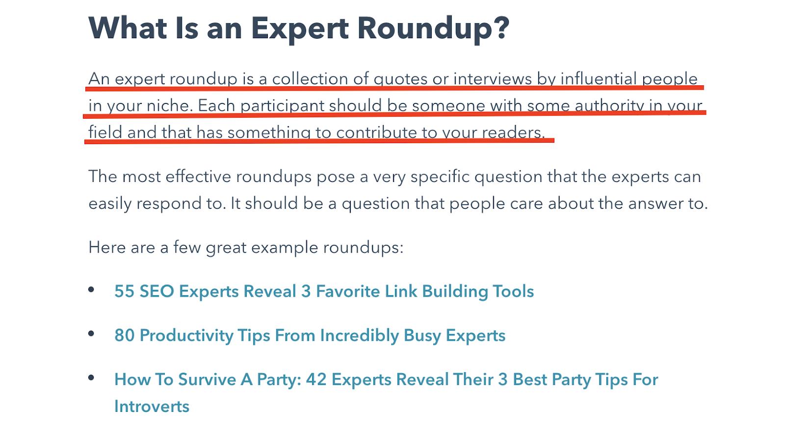 Expert Roundup by HubSpot