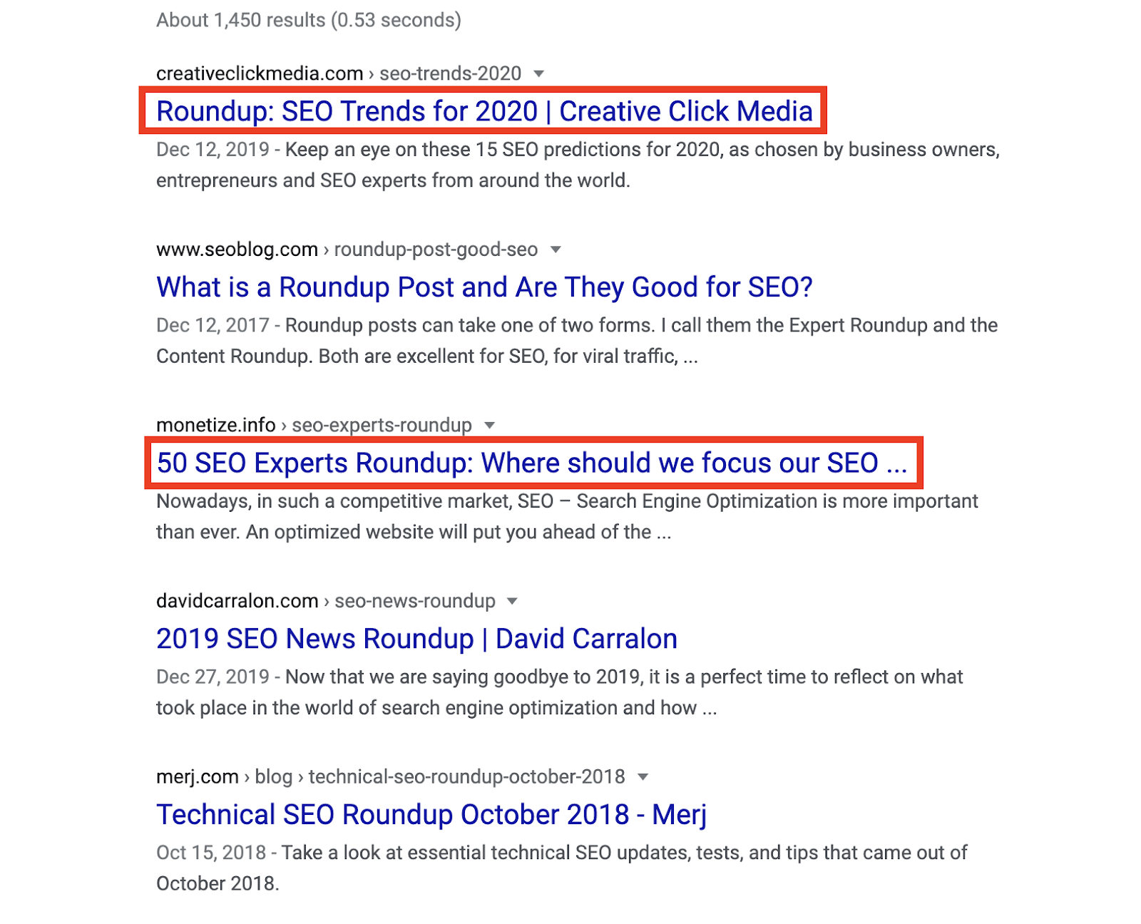 Expert Roundups Among Search Results