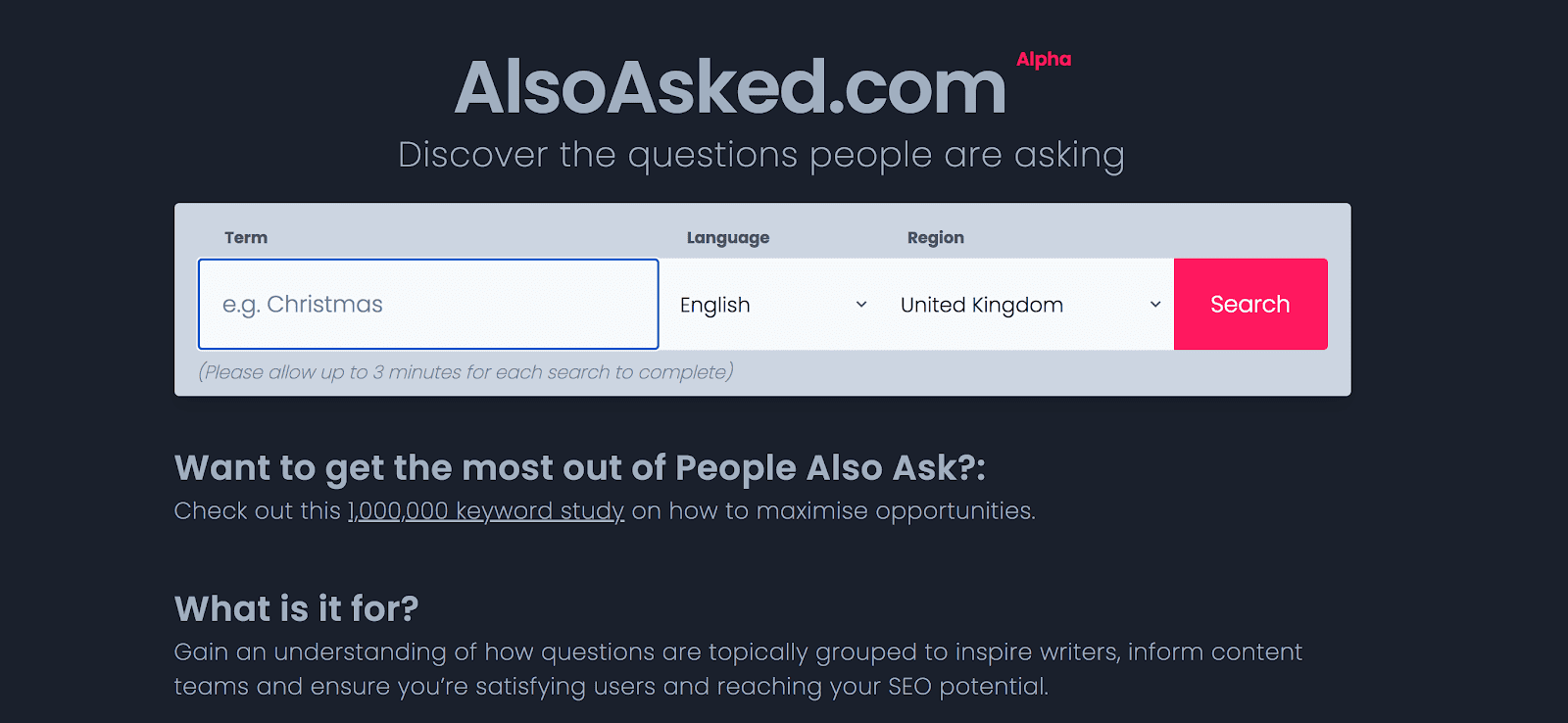 AlsoAsked home page