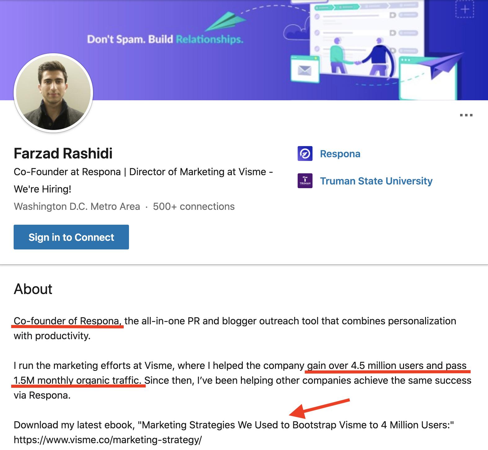 Farzads LinkedIn Profile