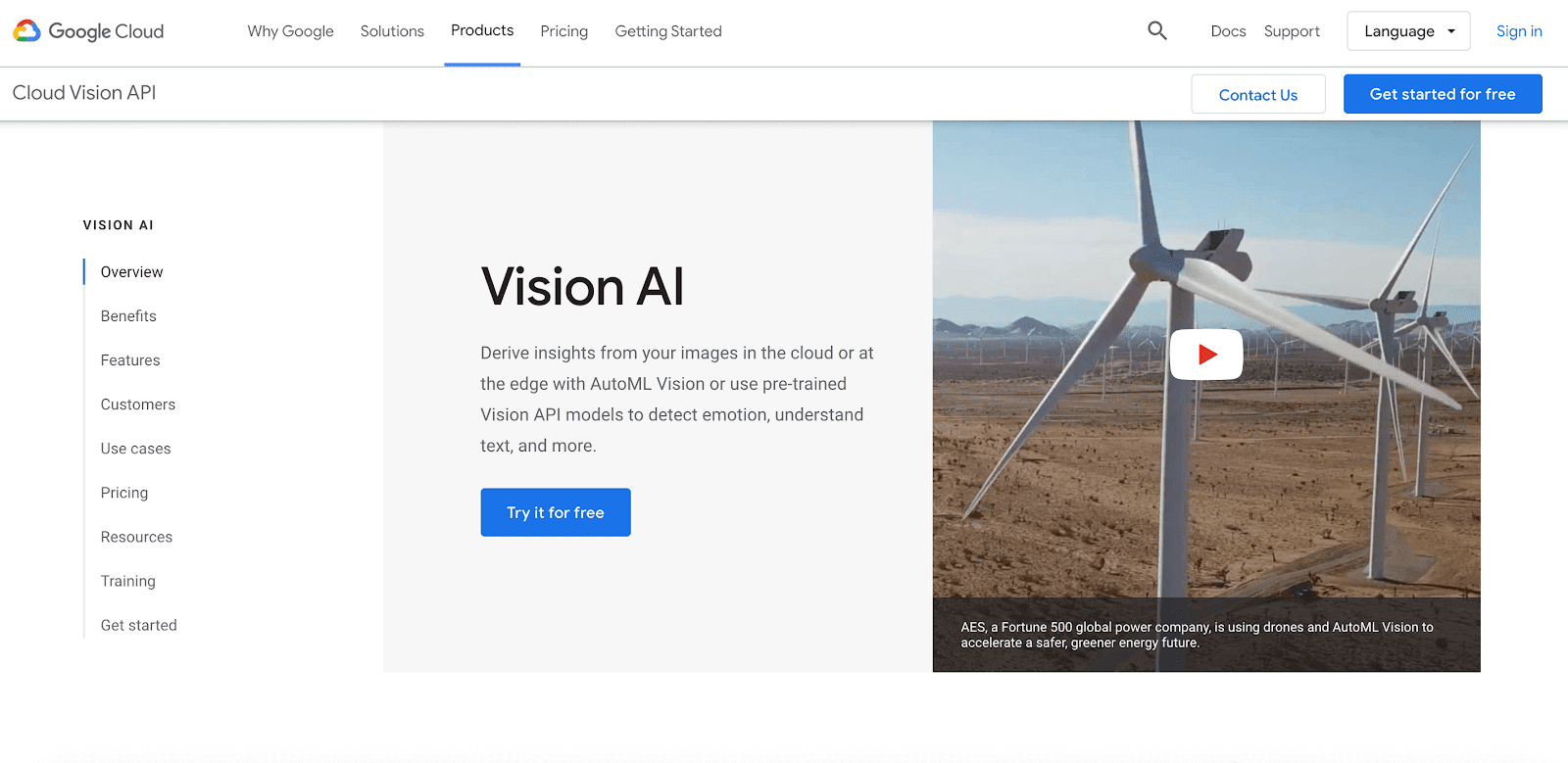 Google Vision API home page