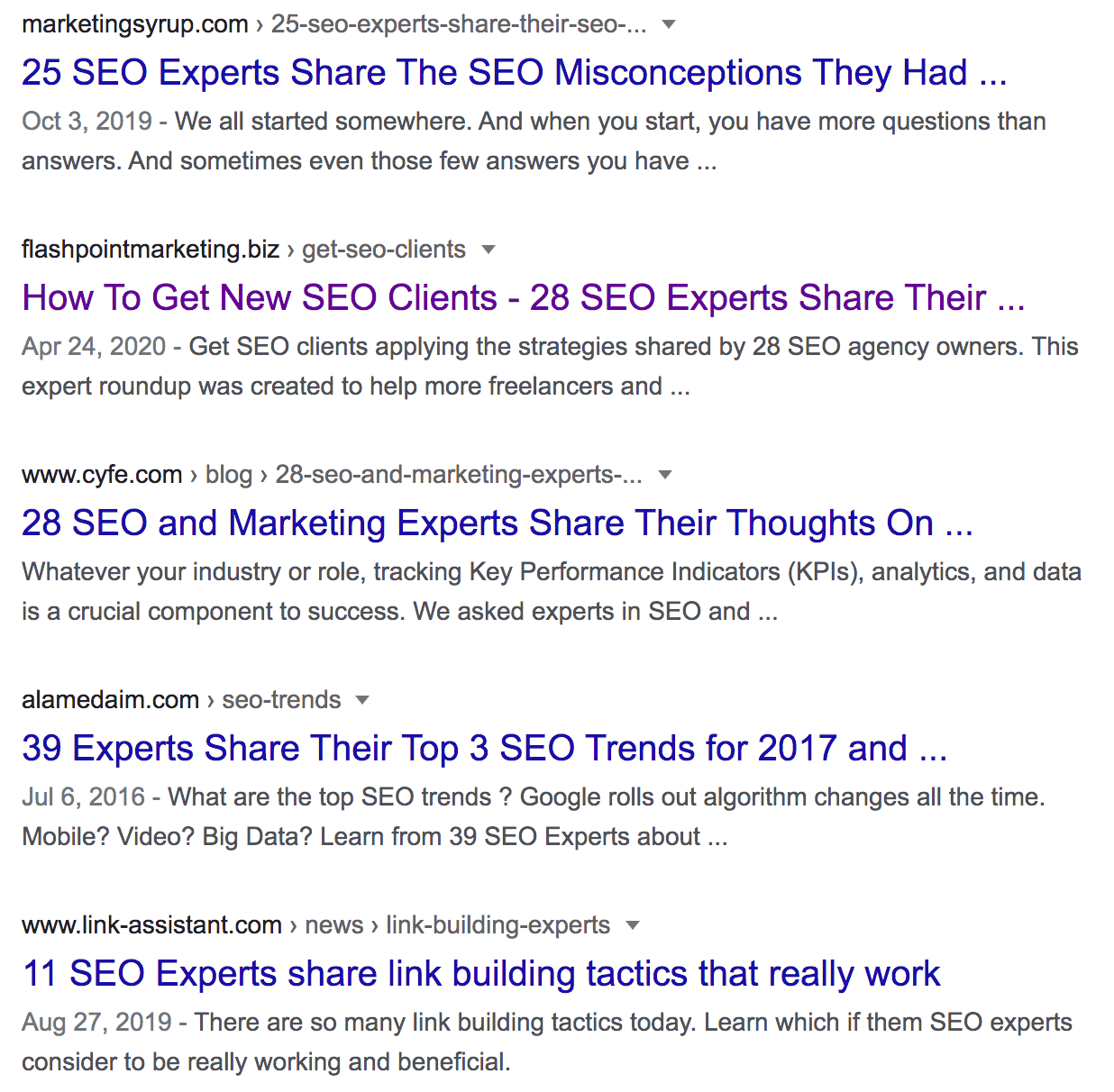 Google SEO Results