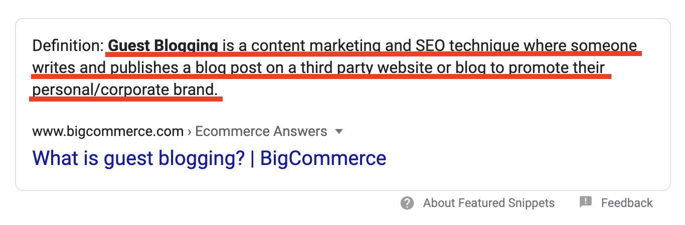 Guest Blogging Definition by BigCommerce