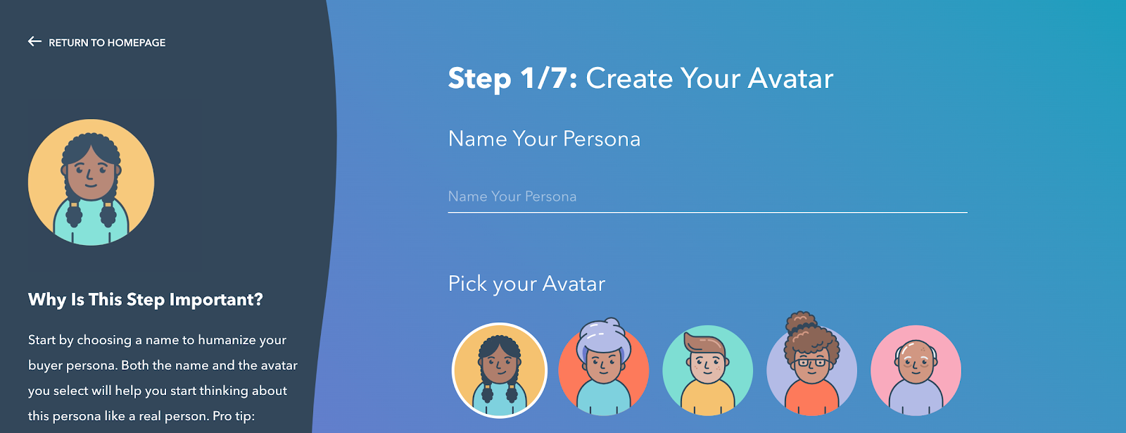 HubSport Build my Persona Step 1