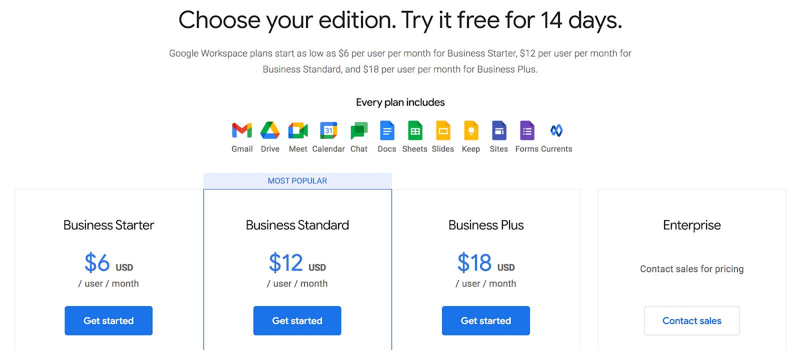 Google Workspaces pricing
