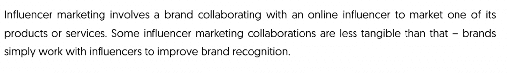 Influencer marketing definition
