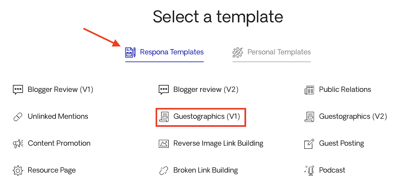 Selecting a template for content distribution