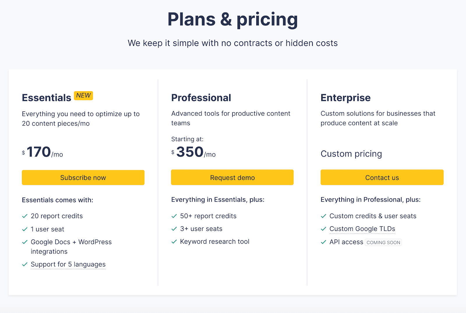 Clearscope pricing