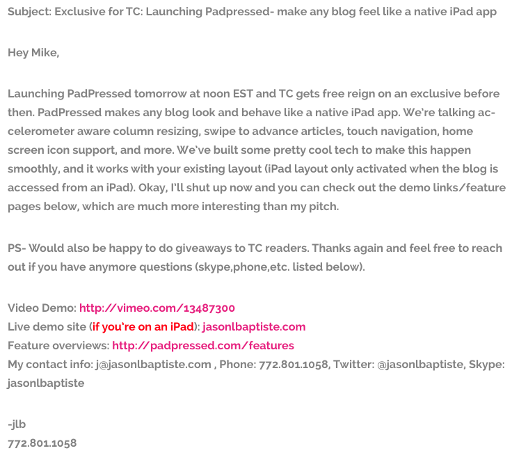 Jason L. Baptiste Email Pitch to TechCrunch