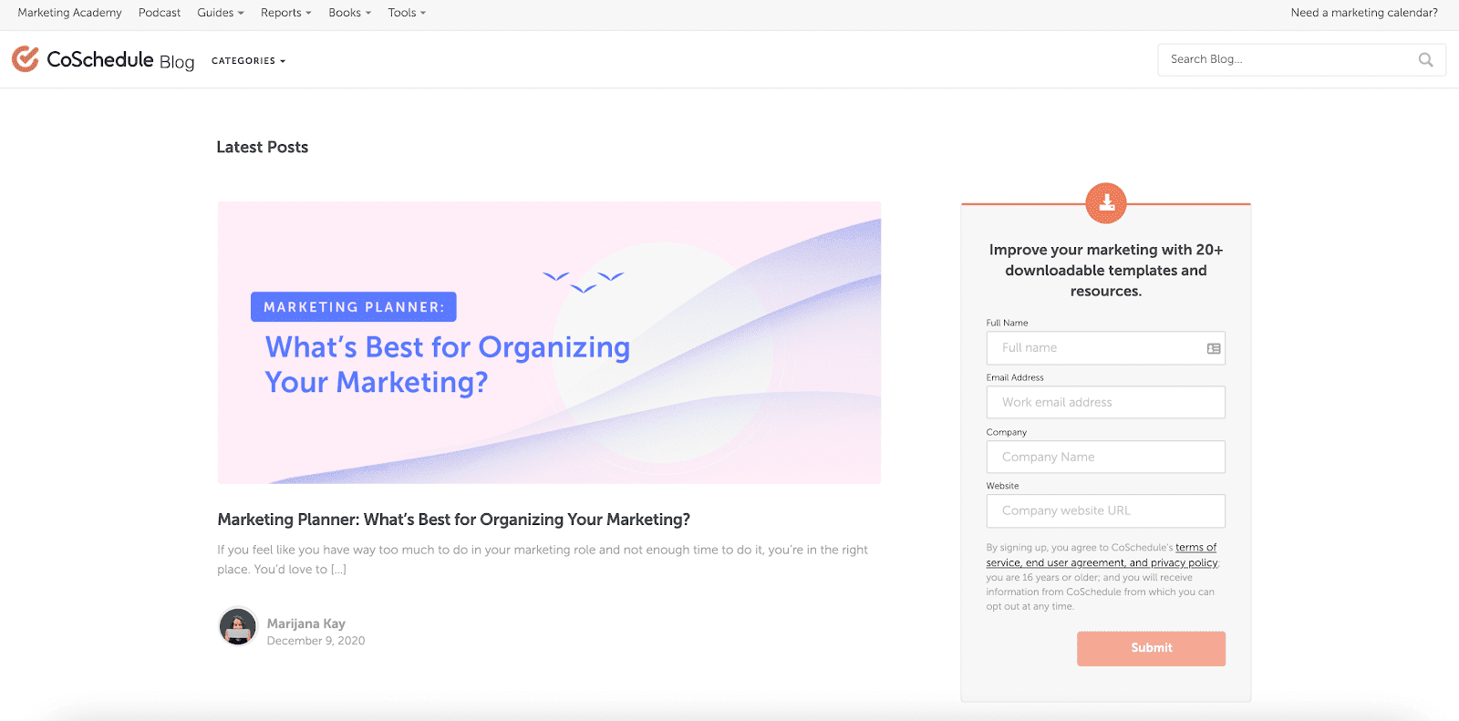 CoSchedule blog page
