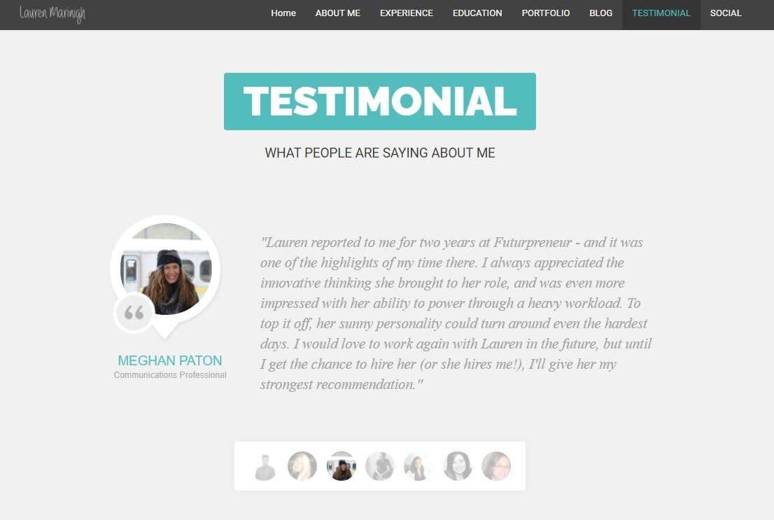 Lauren Marinigh Testimonial Example for a PR portfolio