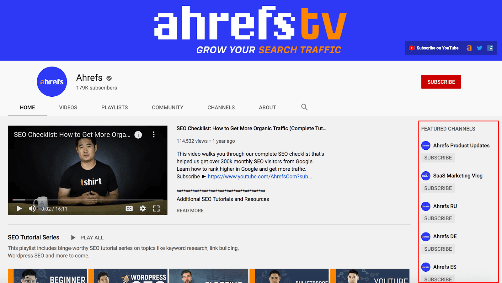 Ahrefs featured channels