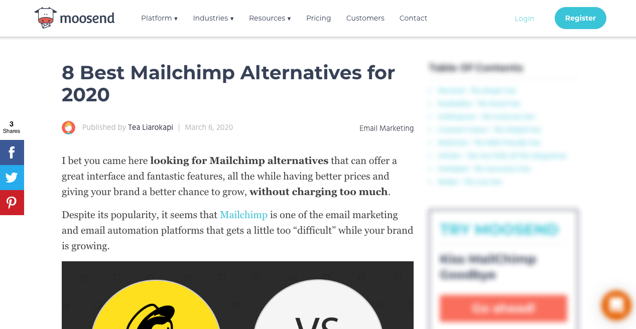 Mailchimp Alternatives Piece by Moosend 1